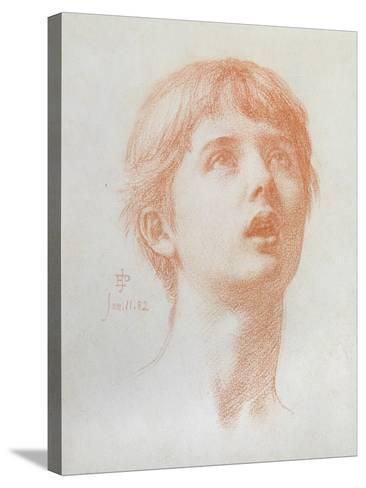 Angel's Head - Study for the Mosaic in St Paul's, 1882-Edward John Poynter-Stretched Canvas Print