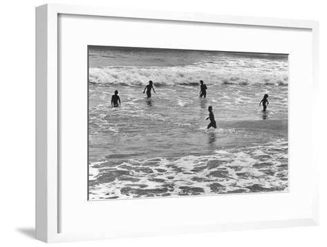 Children Playing in Sea, Somnath--Framed Art Print