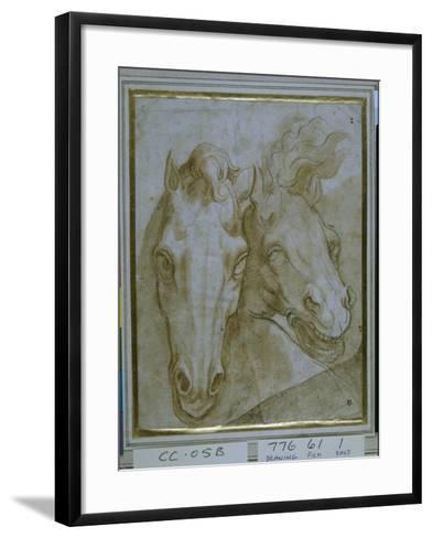Studies for the Heads of Two Horses--Framed Art Print