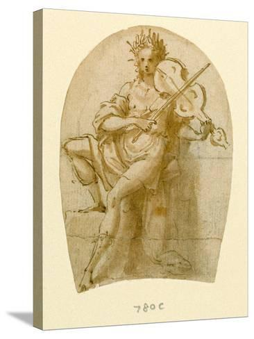 Apollo Seated, Playing His Viol-Bernadino India-Stretched Canvas Print