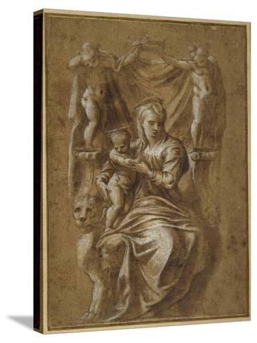 The Madonna and Child Enthroned- Polidoro da Caravaggio-Stretched Canvas Print