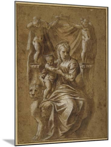 The Madonna and Child Enthroned- Polidoro da Caravaggio-Mounted Giclee Print