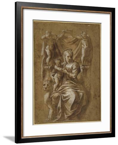 The Madonna and Child Enthroned- Polidoro da Caravaggio-Framed Art Print