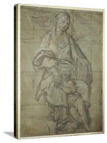 Madonna and Child-Domenichino-Stretched Canvas Print