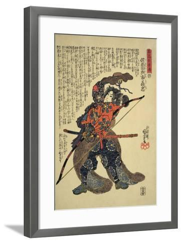 Sanada Yoichi Yoshitada, Dressed for the Hunt with a Bow in Hand-Kuniyoshi Utagawa-Framed Art Print