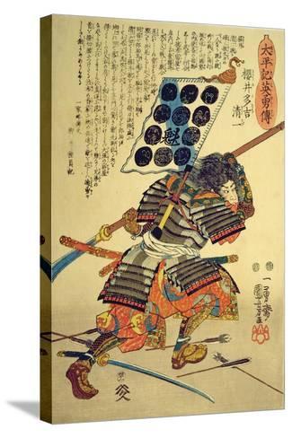 Sakuri Takichi Kiyokazu While Delivering a Blow with His Naginata-Kuniyoshi Utagawa-Stretched Canvas Print