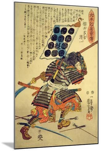 Sakuri Takichi Kiyokazu While Delivering a Blow with His Naginata-Kuniyoshi Utagawa-Mounted Giclee Print