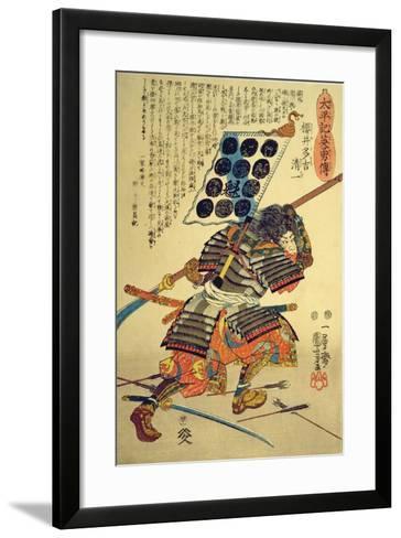 Sakuri Takichi Kiyokazu While Delivering a Blow with His Naginata-Kuniyoshi Utagawa-Framed Art Print