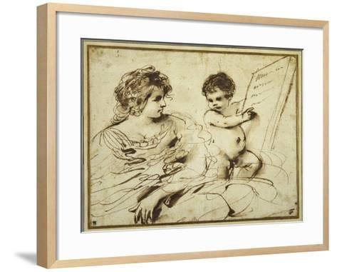 A Seated Sibyl Accompanied by a Putto Holding Up a Large Inscribed Tablet-Guercino (Giovanni Francesco Barbieri)-Framed Art Print