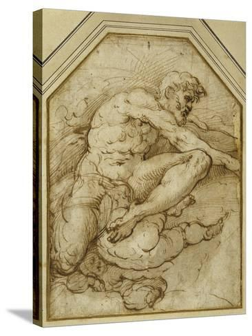 Male Figure, Born Aloft in Clouds by Putti-Parmigianino-Stretched Canvas Print