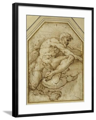 Male Figure, Born Aloft in Clouds by Putti-Parmigianino-Framed Art Print