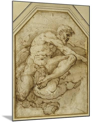 Male Figure, Born Aloft in Clouds by Putti-Parmigianino-Mounted Giclee Print
