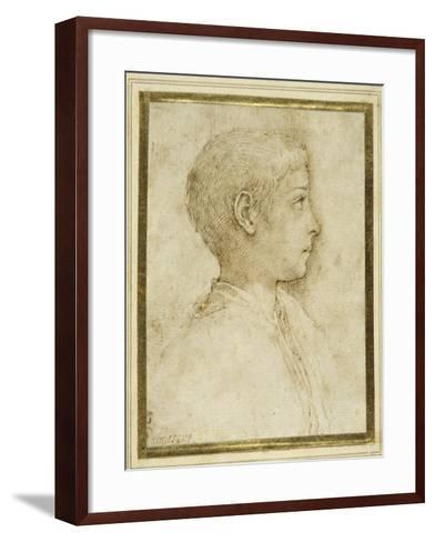 Bust of a Boy in Profile to the Right-Parmigianino-Framed Art Print