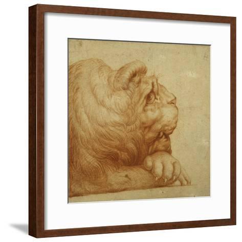 A Lion's Head in Profile-Francesco De Rossi Salviati Cecchino-Framed Art Print