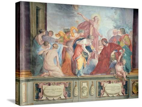 Lorenzo De Medici and Apollo Welcome the Muses and Virtues to Florence- Cecco Bravo-Stretched Canvas Print
