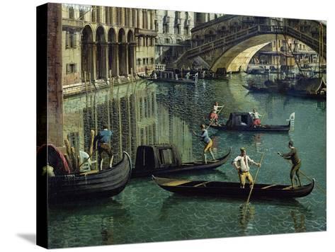 Gondoliers Near the Rialto Bridge, Venice (Detail)-Canaletto-Stretched Canvas Print
