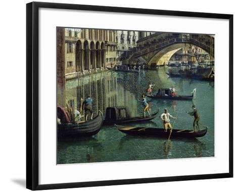 Gondoliers Near the Rialto Bridge, Venice (Detail)-Canaletto-Framed Art Print