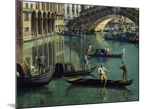 Gondoliers Near the Rialto Bridge, Venice (Detail)-Canaletto-Mounted Giclee Print