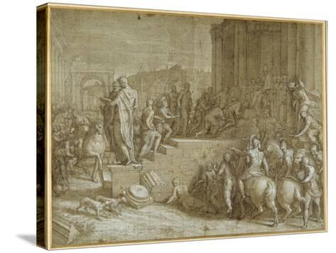 The Legend of Seven Kings Paying Homage to a Pope-Giuseppe della Porta Salviati-Stretched Canvas Print