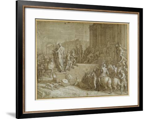 The Legend of Seven Kings Paying Homage to a Pope-Giuseppe della Porta Salviati-Framed Art Print