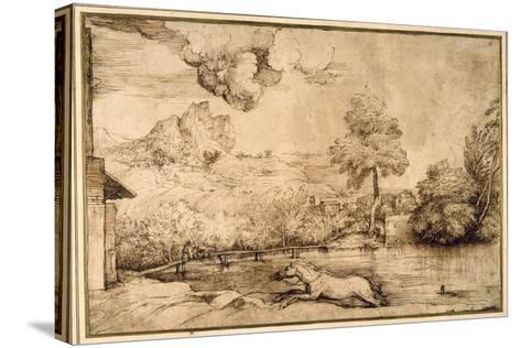 Landscape: a Riderless Horse Pursued by a Serpent-Titian (Tiziano Vecelli)-Stretched Canvas Print
