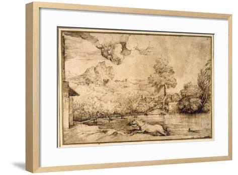 Landscape: a Riderless Horse Pursued by a Serpent-Titian (Tiziano Vecelli)-Framed Art Print