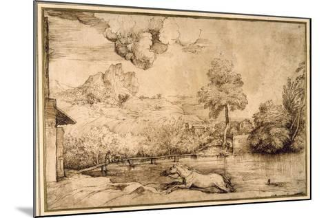 Landscape: a Riderless Horse Pursued by a Serpent-Titian (Tiziano Vecelli)-Mounted Giclee Print