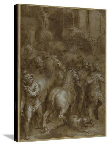 Horses and Men, Facing Right-Taddeo Zuccaro-Stretched Canvas Print