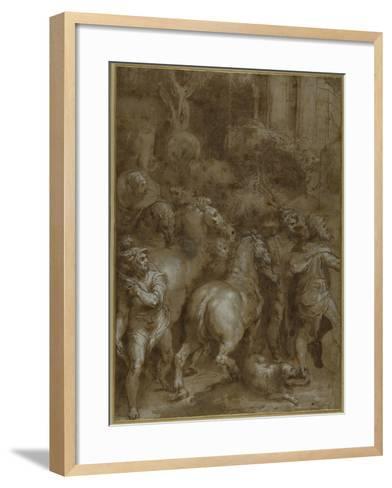 Horses and Men, Facing Right-Taddeo Zuccaro-Framed Art Print