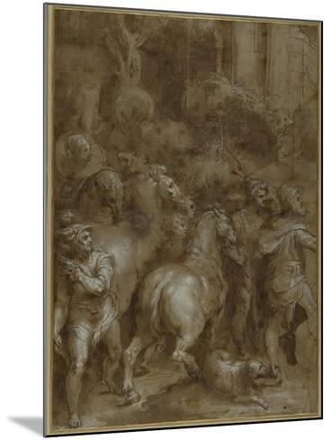 Horses and Men, Facing Right-Taddeo Zuccaro-Mounted Giclee Print