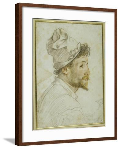 Head and Shoulders of a Bearded Man Wearing a Cap-Federico Zuccaro-Framed Art Print