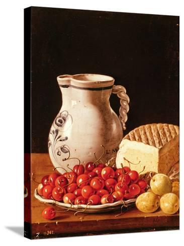 Still Life with Cherries, Cheese and Greengages-Luis Egidio Melendez-Stretched Canvas Print