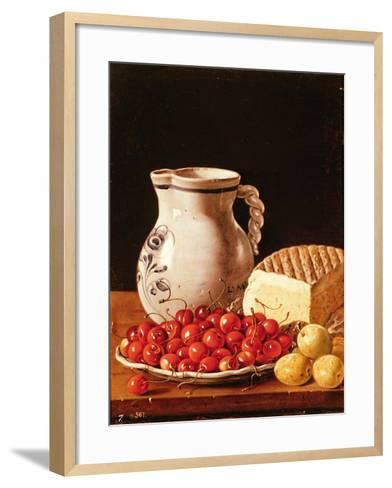 Still Life with Cherries, Cheese and Greengages-Luis Egidio Melendez-Framed Art Print