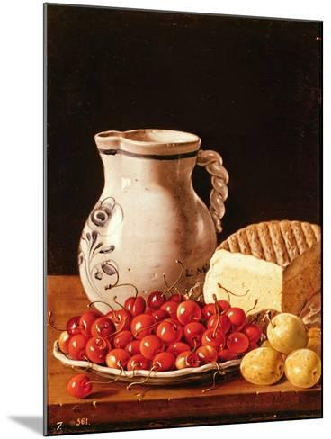 Still Life with Cherries, Cheese and Greengages-Luis Egidio Melendez-Mounted Giclee Print