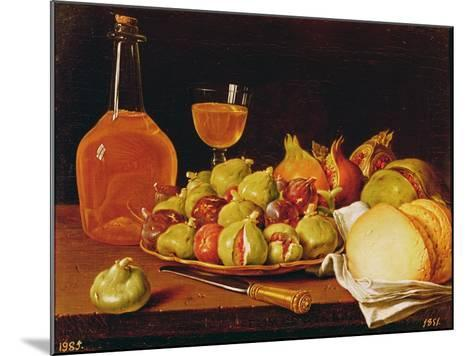 Still Life with a Plate of Figs and Pomegranates, Bread and Wine-Luis Egidio Melendez-Mounted Giclee Print