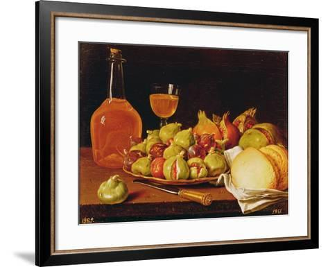 Still Life with a Plate of Figs and Pomegranates, Bread and Wine-Luis Egidio Melendez-Framed Art Print