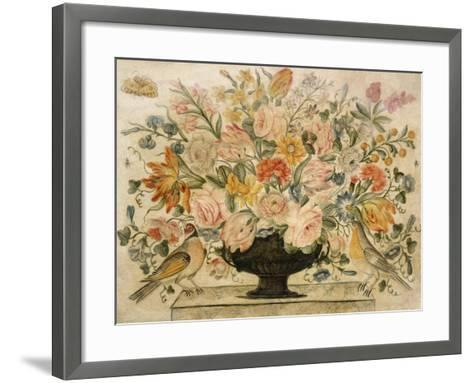 An Urn Containing Flowers on a Ledge with Two Birds, 1600-Octavianus Montfort-Framed Art Print