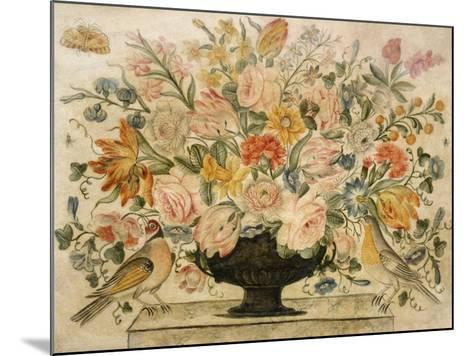 An Urn Containing Flowers on a Ledge with Two Birds, 1600-Octavianus Montfort-Mounted Giclee Print