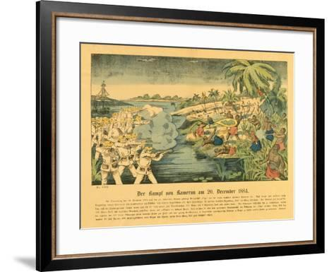 Duala Uprising in German Cameroon, with the Sms Olga in the Background, 20 December 1884, 1884-German School-Framed Art Print