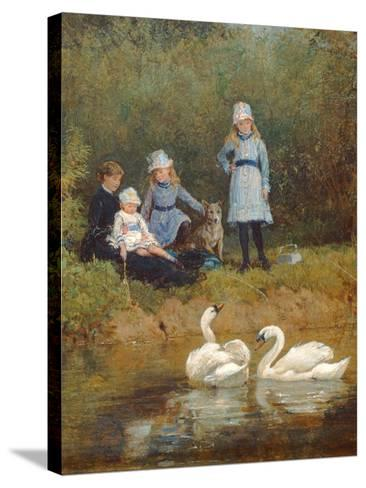 Watching the Swans-Heywood Hardy-Stretched Canvas Print