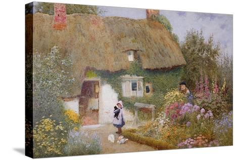 Feeding the Pigeons-Arthur Claude Strachan-Stretched Canvas Print