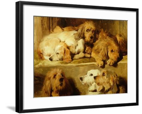 Hounds in a Kennel-Edwin Henry Landseer-Framed Art Print
