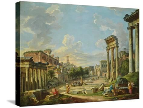 View of Campo Vaccino in Rome, 1740-Giovanni Paolo Pannini-Stretched Canvas Print