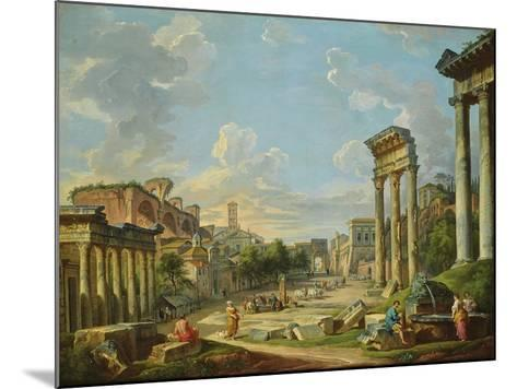 View of Campo Vaccino in Rome, 1740-Giovanni Paolo Pannini-Mounted Giclee Print
