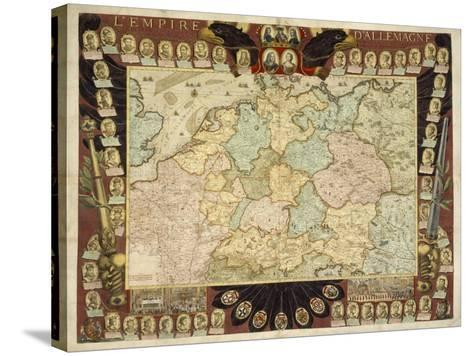 Map of the German Empire with Portraits of the Holy Roman Emperors, Published by Louis-Charles?-Nicolas De Fer-Stretched Canvas Print