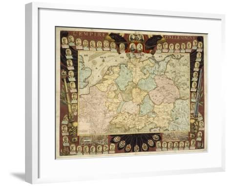 Map of the German Empire with Portraits of the Holy Roman Emperors, Published by Louis-Charles?-Nicolas De Fer-Framed Art Print
