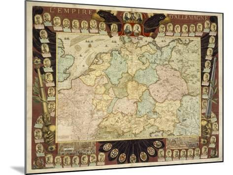 Map of the German Empire with Portraits of the Holy Roman Emperors, Published by Louis-Charles?-Nicolas De Fer-Mounted Giclee Print