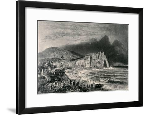 Etretat, Illustration from the Chapter on Normandy from 'La Normandie Illustree', Engraved by…-Felix Benoist-Framed Art Print