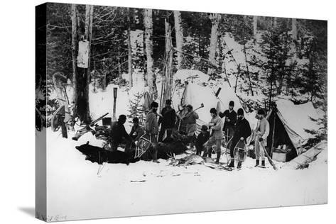 Prince Arthur's Moose Hunting Expedition in Canada, C.1870-English Photographer-Stretched Canvas Print