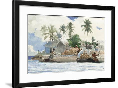 Sponge Fisherman, Bahamas-Winslow Homer-Framed Art Print